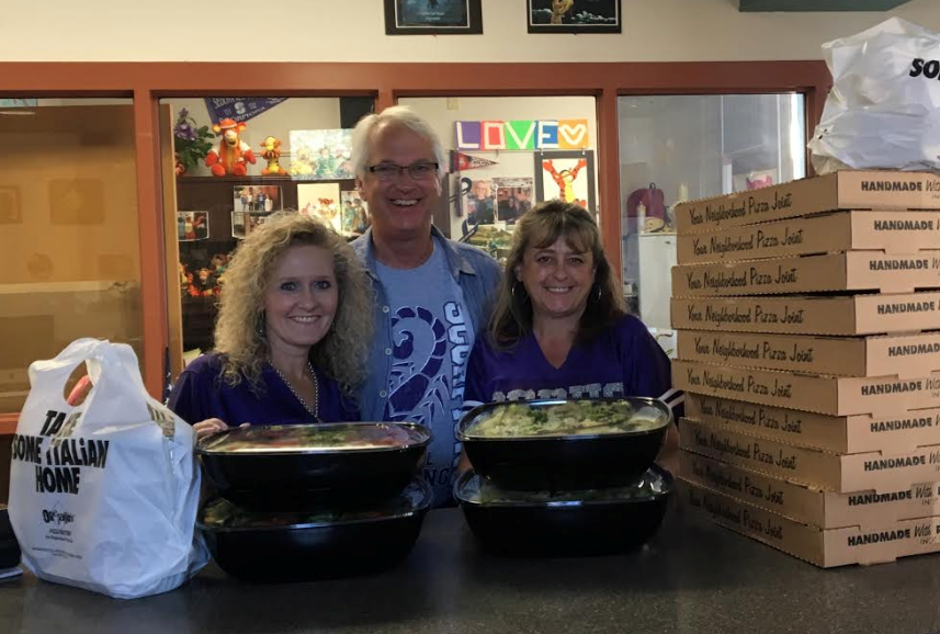 Oregano's pizza lunch for teachers